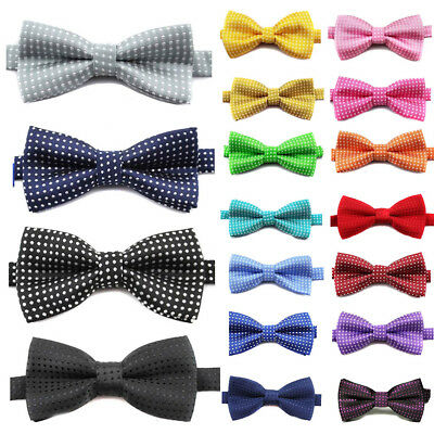 Men Satin Novelty Bow Tie Dickie Bow Pre-Tied - Striped Checked Polka-Dot Tartan