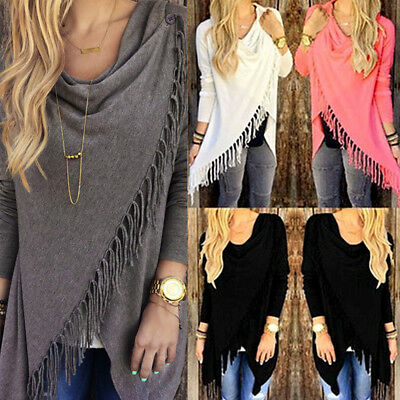 US Casual Women's Loose Tassel Long Sleeve Knit Tops Pullover Sweater Blouse