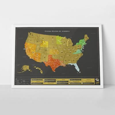 Scratch Off Map USA Deluxe Edition Large Travel Scratch Off Wall Map Poster