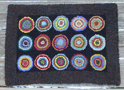 Antique Pennies  Large Primitive Rug Hooking Kit with Cut Wool Strips