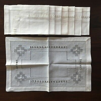 Set Of 8 Vintage White Linen Placemats Embroidered #16