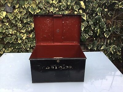 Vintage Metal Deed Box No Key  W & S Make Ex Judges Find Red Interior Retro