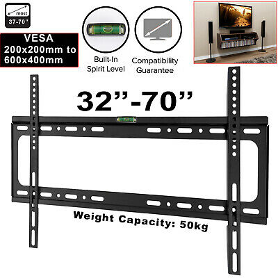 Slim TV Wall Bracket Mount Fixed For 32 40 45 50 55 60 65 70 Inch LCD LED Plasma