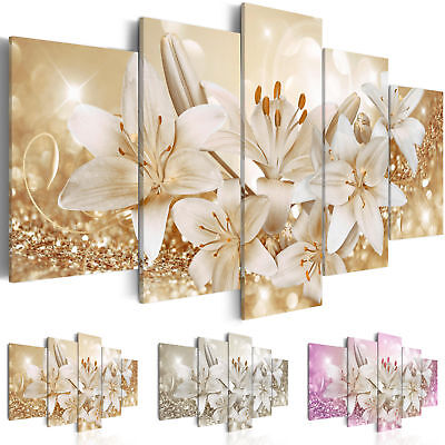Non-woven Canvas Wall Art Image Photo Print Lily Flowers Abstract b-A-0309-b-n