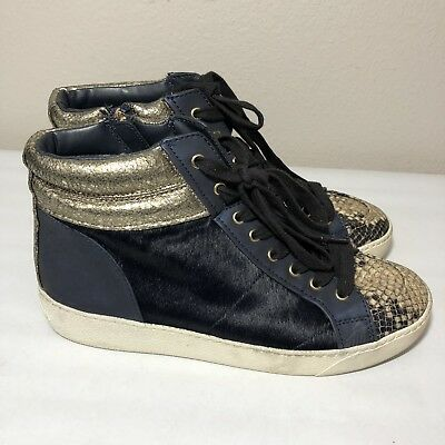 de5852a04d3b88 Sam Edelman Womens Sneaker 9.5 Britt High Top Navy Blue Dyed Cow Fur Snake  Skin