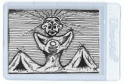"ACEO ""SIamese"" ATC Outsider Art Weird Strange Ink Sketch Expressive Drawing"