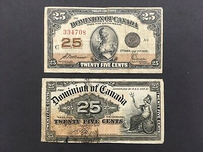 CANADA  (2 Notes)  25 Cents  1900 and 1923