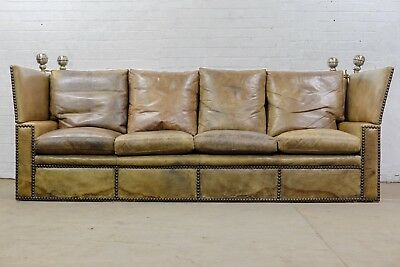 BESPOKE ANTIQUE EARLY 20thC KNOLE DROP ARM TAN LEATHER SOFA - FREE UK DELIVERY