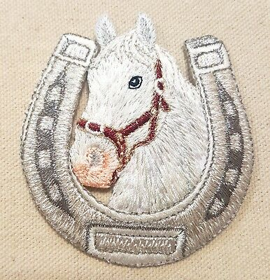 """1pc WHITE HORSE HEAD HORSESHOE IRON ON / SEW ON EMBROIDERED APPLIQUE PATCH 3"""" H."""