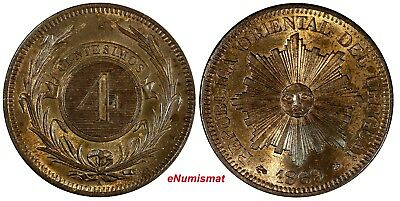 Uruguay Bronze 1869 A 4 Centesimos Paris Mint 35 mm UNC KM# 13