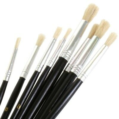 Washable Te474 9pc Round Artist Paint Brush Model Making Pictures