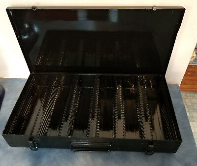 "Vintage Black Metal Case Holds 150 Slide File 35mm or 2""x2"" Coin Storage Box"