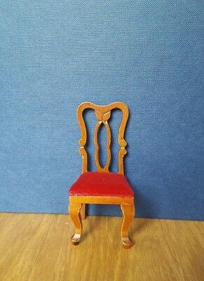 Dolls House Furniture: Chair with red cushioned seat : in 12th scale