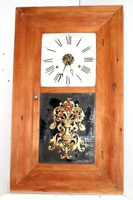 Antique 1870's E.n. Welch Weight Driven Ogee Clock W/ Reverse Eglomise Tablet.