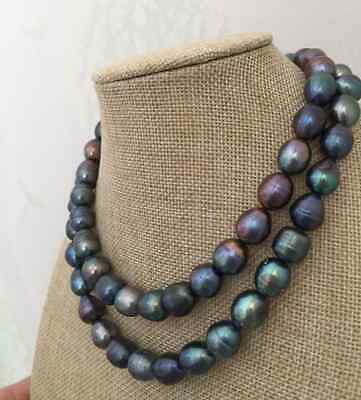 """New strands 10-13 mm tahitian black green baroque pearl necklace  34"""" AAA"""