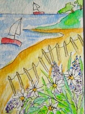 ACEO original watercolour painting - On the beach - by Polly