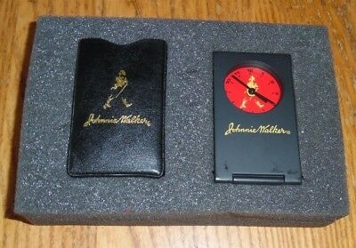 "Johnnie Walker Travel Alarm Clock + Black Leather Case Scotch Whiskey New 3""x 2"""