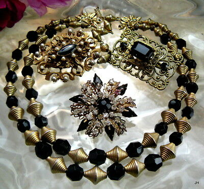 Stunning Vintage Jet Black Glass Bead Double Strand Gt Necklace Pin Brooch Lot!