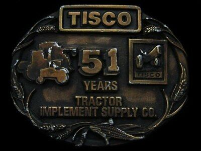 Ic17155 Vintage 1988 ***tractor Implement Supply Co.*** Brasstone Buckle
