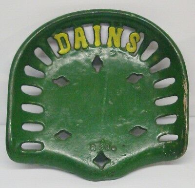 Vintage Cast Iron DAINS Tractor or Implement Seat