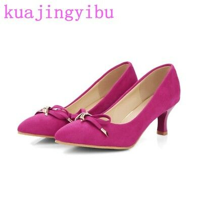Chic womens pointy toe suede leather mid block heels shoes metal bowknot decor