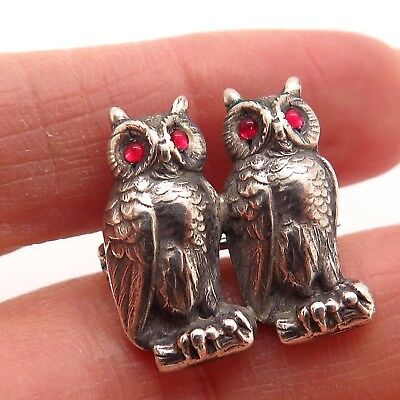 Rare Antique Victorian 925 Sterling Silver Handmade Collectible Two Owl Brooch