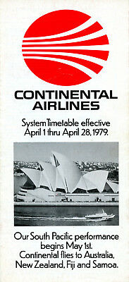 Continental Airlines April 1, 1979 System Timetable