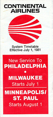 Continental Airlines July 1, 1981 System Timetable