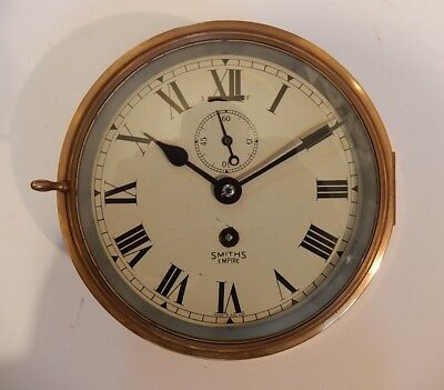 Superb Smiths Empire Brass Case Ships's clock. Fully working 2908