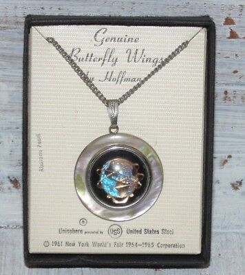 1964-65 NY Unisphere World's Fair Necklace Genuine Butterfly Wings Abalone Pearl