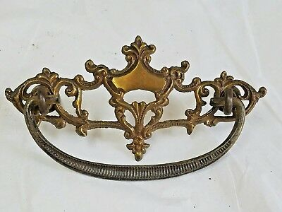 "1 Antique ORNATE Solid Brass Drawer Pull Handle Delicate SHIELD & SCROLL 3""OC"