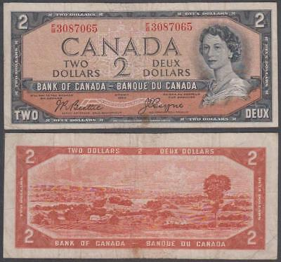 "1954 Bank of Canada ""Devil's Face Hairdo"" 2 Dollars"