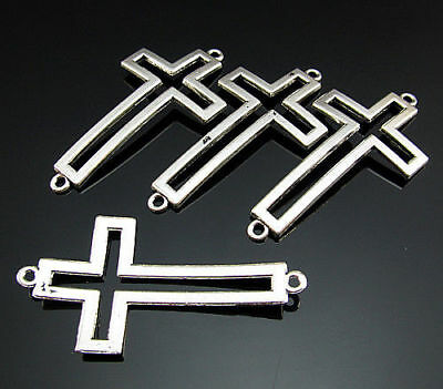 5PCS Connector Free hollow cross 54mm bails Pendant spacer Silver Crafts Tibetan