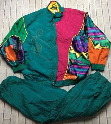 90s VTG TRACKSUIT Jacket & Pants Set NEON All Over VAPORWAVE Funky Print XL Pink