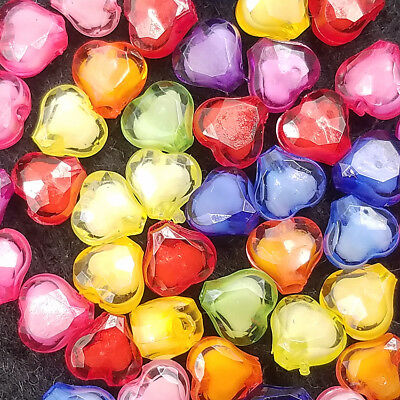 DIY Loose Mixed Cut 200PCS Acrylic 8mm spacer Free LUSTER beads Heart TOP color