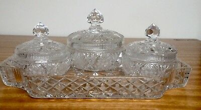 Set Of 3 Vintage Cut Glass Lead Crystal Pot/ Dishes Lidded Vanity Tray
