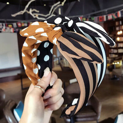 Fashion Girls Striped Wave Point Color print Matching Bow Headband Accessories S