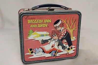 1973 Ragedy Ann and Andy Cow Flowers House Lunch Box Eames Era