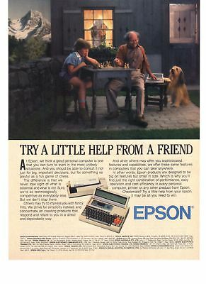 1985 Help From a Friend EPSON Computer Man & Boy Play Chess Vintage Print Ad
