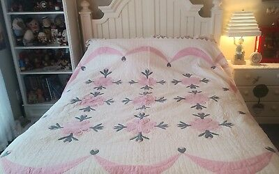 """Vintage Hand Stitched Applique Rose Quilt 81"""" by 81"""" Pink, Gray & White NICE!"""