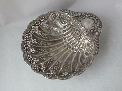 Antique Pierced Embossed Solid Silver Shell Shaped Dish 1902/ L 12.5 cm/ 74 g