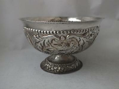 "Antique Dutch Solid Silver ""Birds"" Embossed Bowl/ Dia 12.2 cm/ 117 g"