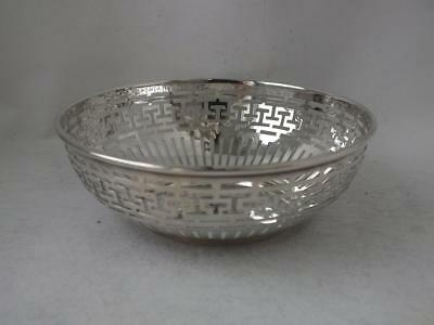 Pierced Antique Solid Sterling Silver Bowl 1910/ Dia 11.2 cm/ 67 g