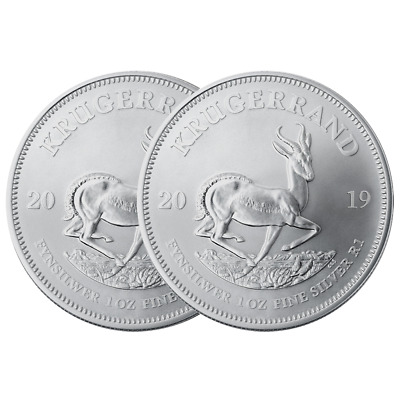 Lot of 2 - 2019 South Africa Silver Krugerrand 1 oz Brilliant Uncirculated