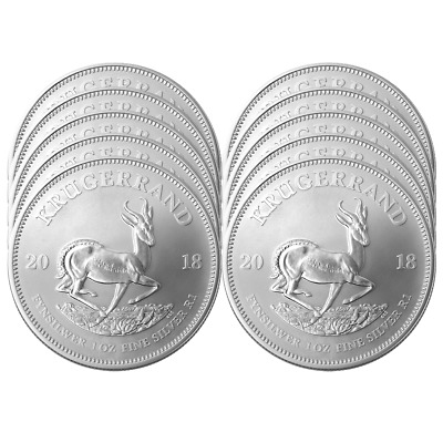 Lot of 10 - 2019 South Africa Silver Krugerrand 1 oz Brilliant Uncirculated