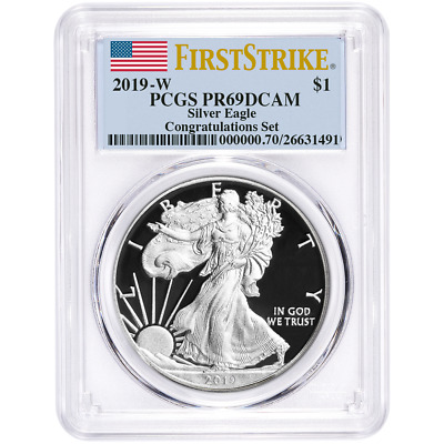 2019-W Proof $1 American Silver Eagle Congratulations Set PCGS PR69DCAM First St