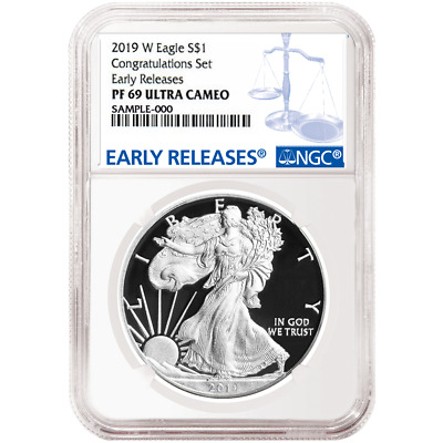 2019-W Proof $1 American Silver Eagle Congratulations Set NGC PF69UC Blue ER Lab
