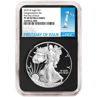 2019-W Proof $1 American Silver Eagle Congratulations Set NGC PF69UC FDI First L