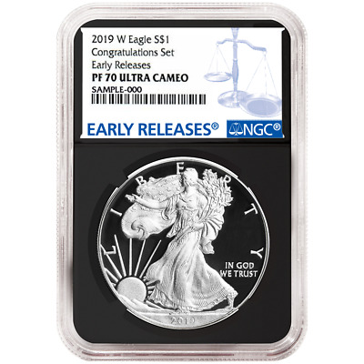 2019-W Proof $1 American Silver Eagle Congratulations Set NGC PF70UC Blue ER Lab