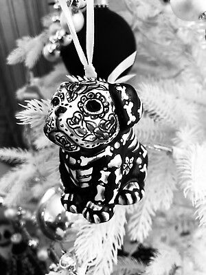 Day of the Dead Sugar Skull Bull Dog Puppy  Bully Hand Painted Pit Bull Ornament